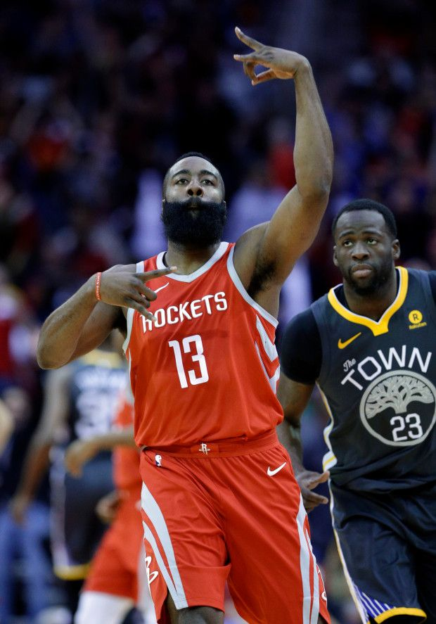 2bf597d89e4 Houston Rockets guard James Harden (13) celebrates a three point shot as Golden  State Warriors forward Draymond Green (23) looks on during the first half  of ...