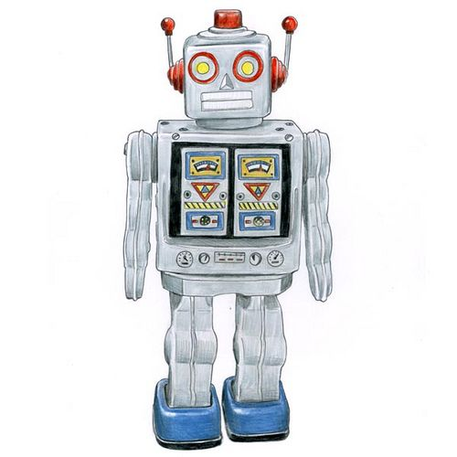 Old fashioned robot toys 75