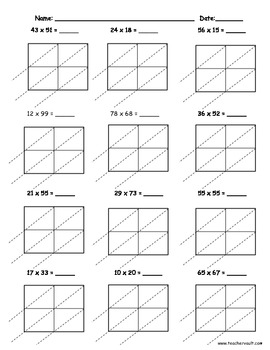 Free Printable Lattice Multiplication Worksheets
