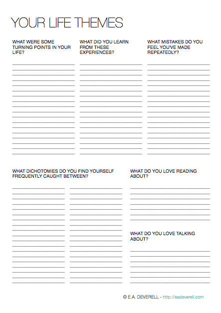 Your Life Themes Writing Worksheet Wednesday Creative