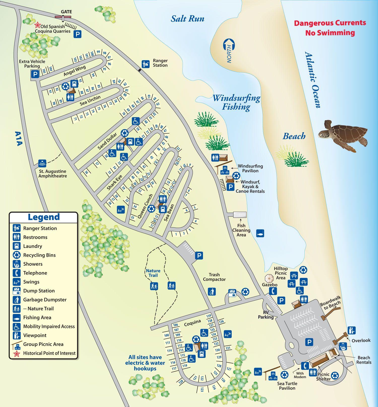 Campground Map Anastasia State Park Florida Pinterest Anastasia - Florida map state parks