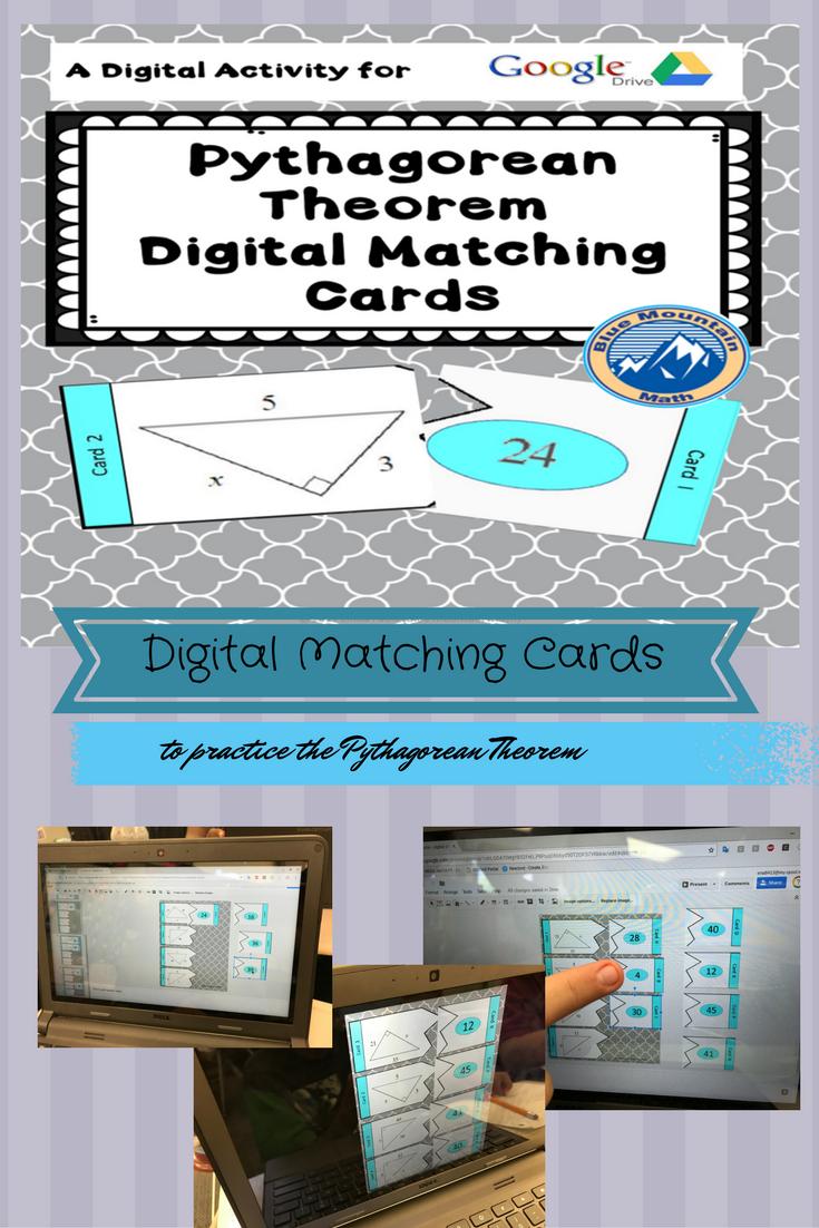 Digital Pythagorean Theorem Matching Cards   Google drive, Students ...