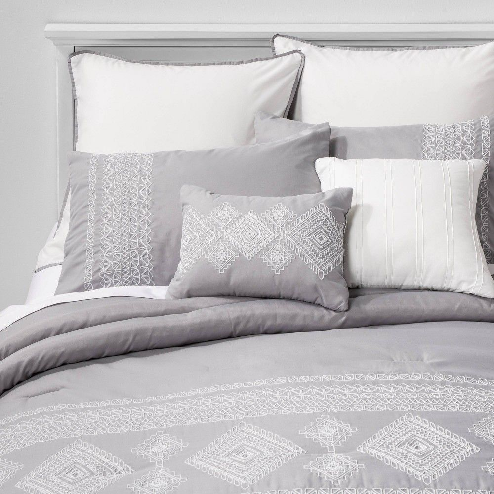 Full Anoma Geometric Comforter Set Gray Hallmart Collectibles Grey Comforter Sets Bedding Sets Grey Comforter Sets