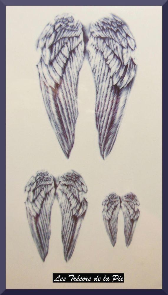 Aile D Ange Tatouage tatouages temporaires tatoo (x3) - body art - ailes d ange - bleu