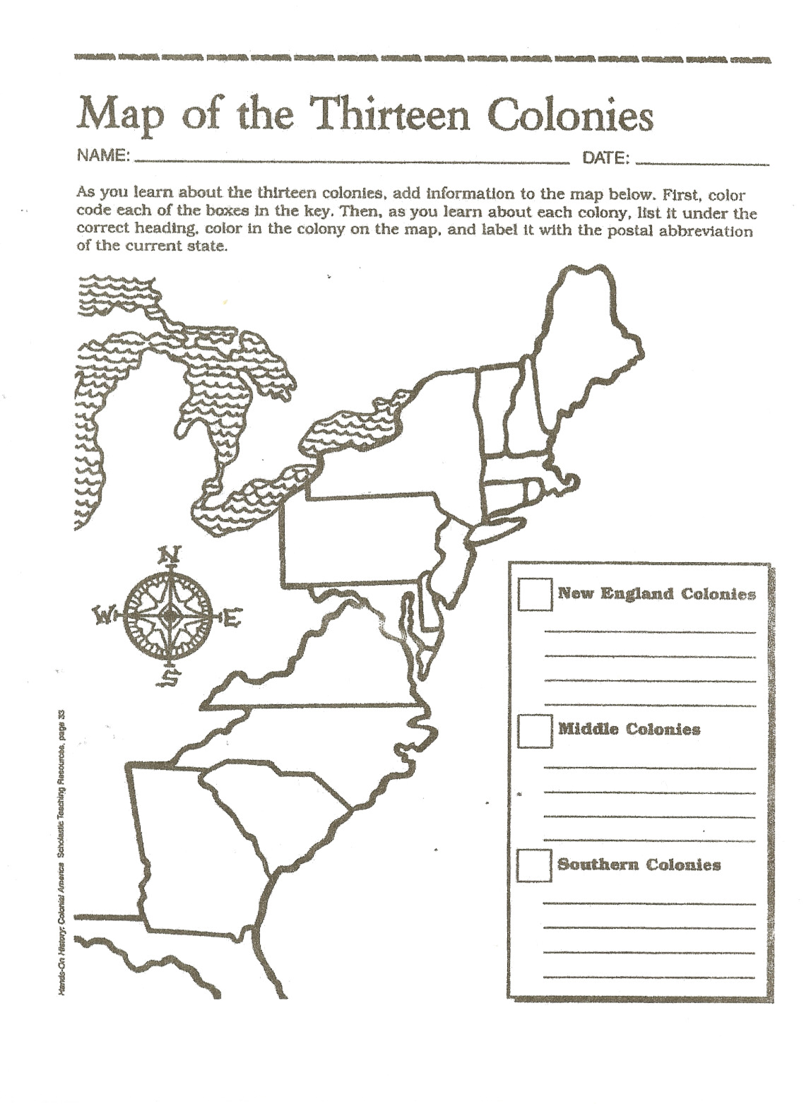 13 Colonies Worksheet
