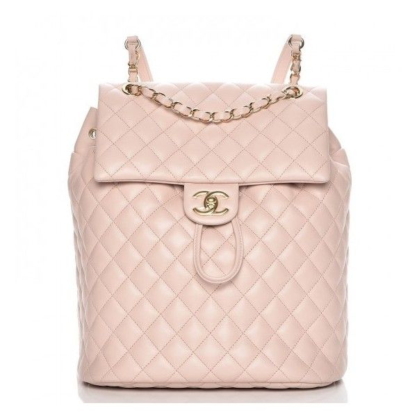CHANEL Lambskin Quilted Large Urban Spirit Backpack Beige ❤ liked on  Polyvore featuring bags, urban backpack, chanel bags, pink backpacks, zip  bag and ... cb23ecf83b