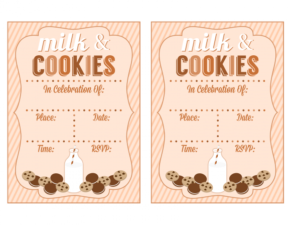Milk and Cookies Invitations No 2 Baby Shower Baking Party Birthday Party