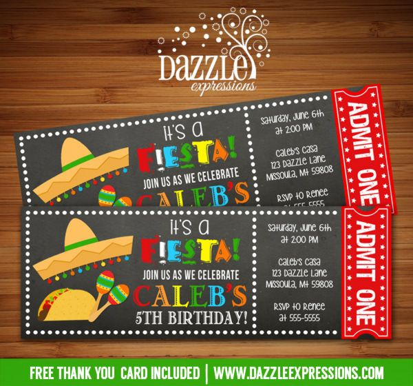 Printable Chalkboard Fiesta Ticket Birthday Invitation Taco - invitation ticket template
