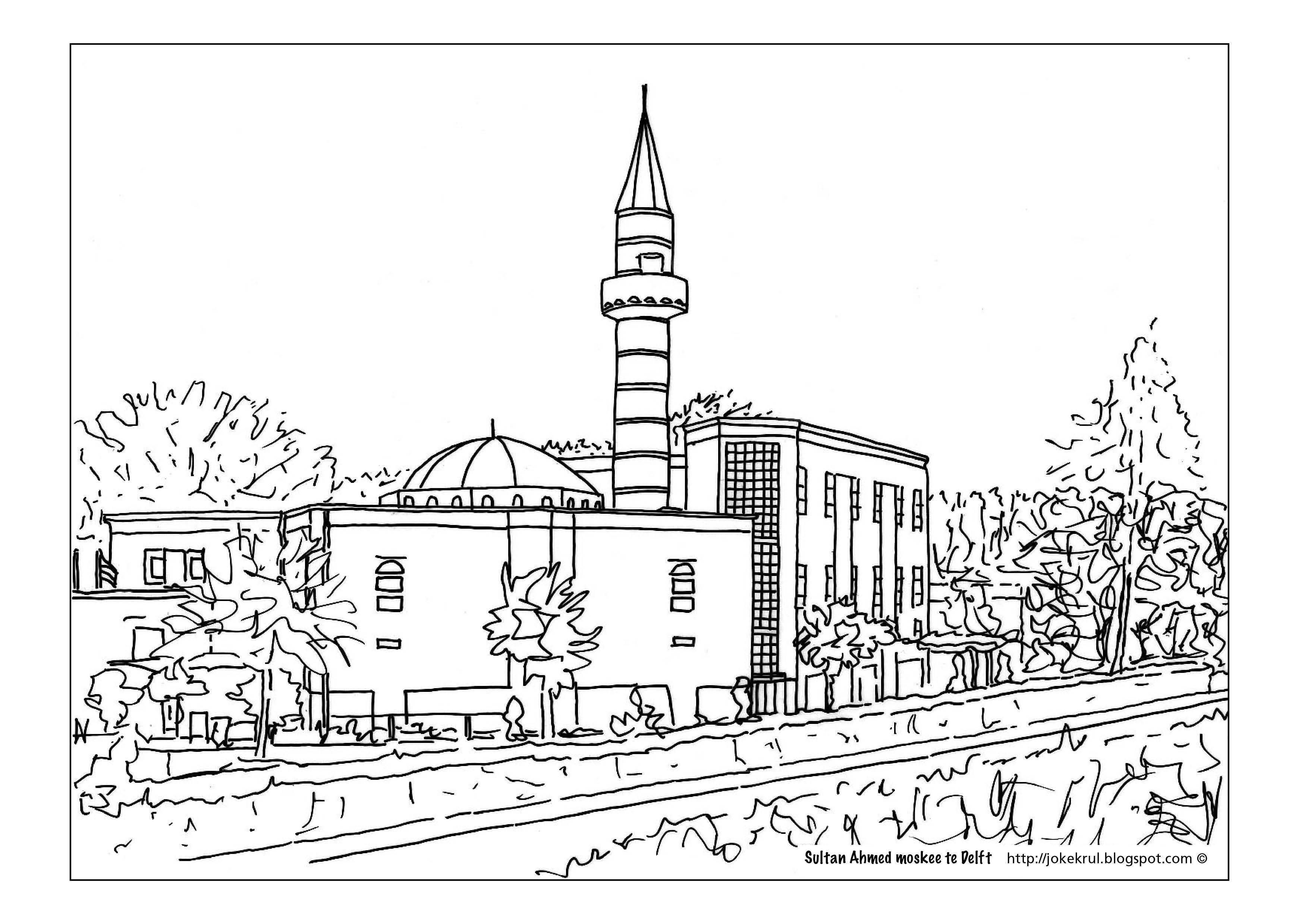 Sultan Ahmed Moskee Schilder Krul Kleurplaten