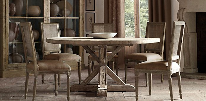 Dining Room Distressed Elm Belgian Trestle Dining Table