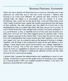 a great nursing personal statement example for nursing school