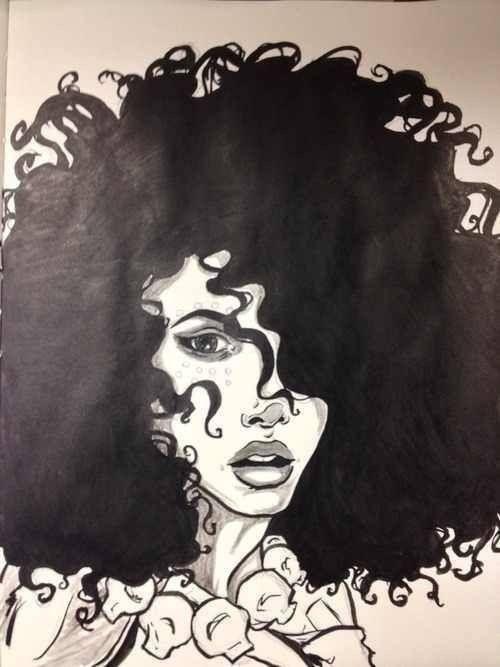 Naturliche Haarkunst Big Hair Locken Schwarze Kunst Zeichnung Ideen Beauty Drawings Drawing Board Styles