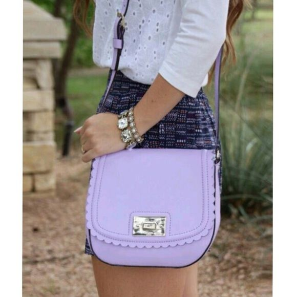b2e792e997fa Kate Spade Lilac Road Seth Scalloped Crossbody Description  Beautiful scalloped  Crossbody bag in light crocus