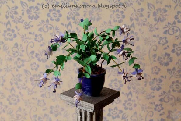 Fuchsia Plant - Dollhouse Miniatures - made from a Bonnie Lavish kit - Emilian Home blog