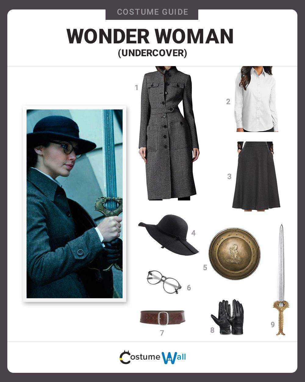 4ab3f192cff6 Get the best costume guide for dressing up like the undercover Wonder Woman,  who looks more conservative in the 2017 movie, Wonder Woman.