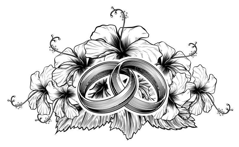 Anillos De Bodas Y Flores Del Hibisco Ilustracion Del Vector Imagen 84647521 Anillos De Boda Entrelazados Anillos De Boda Tatuaje De Anillo De Boda