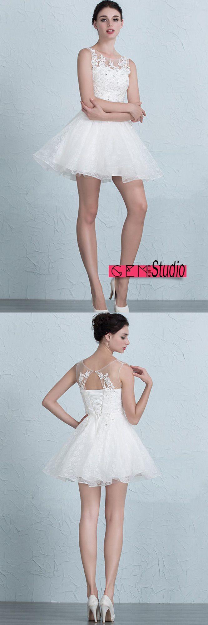 Cute Lace Reception Short Wedding Dresses Tutu A-Line Scoop Neck ...