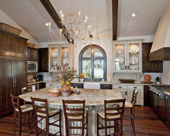 Kitchen Drk Brown Cabinets With Cream Stained Island Design, Pictures, Remodel, Decor and Ideas - page 5