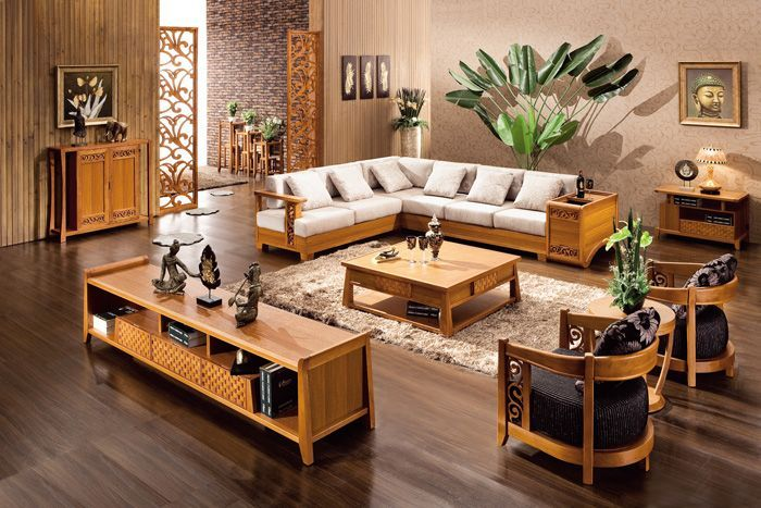 chinese wooden sofa furniture set designs for small living room with hardwood floors