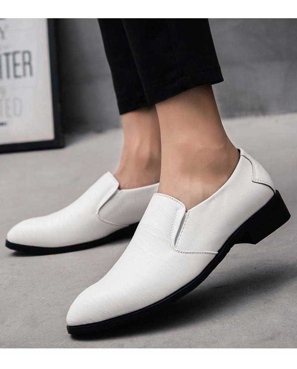Men S White Leather Slip On Dressshoes Stripe Texture Design Point Toe [ 1200 x 965 Pixel ]
