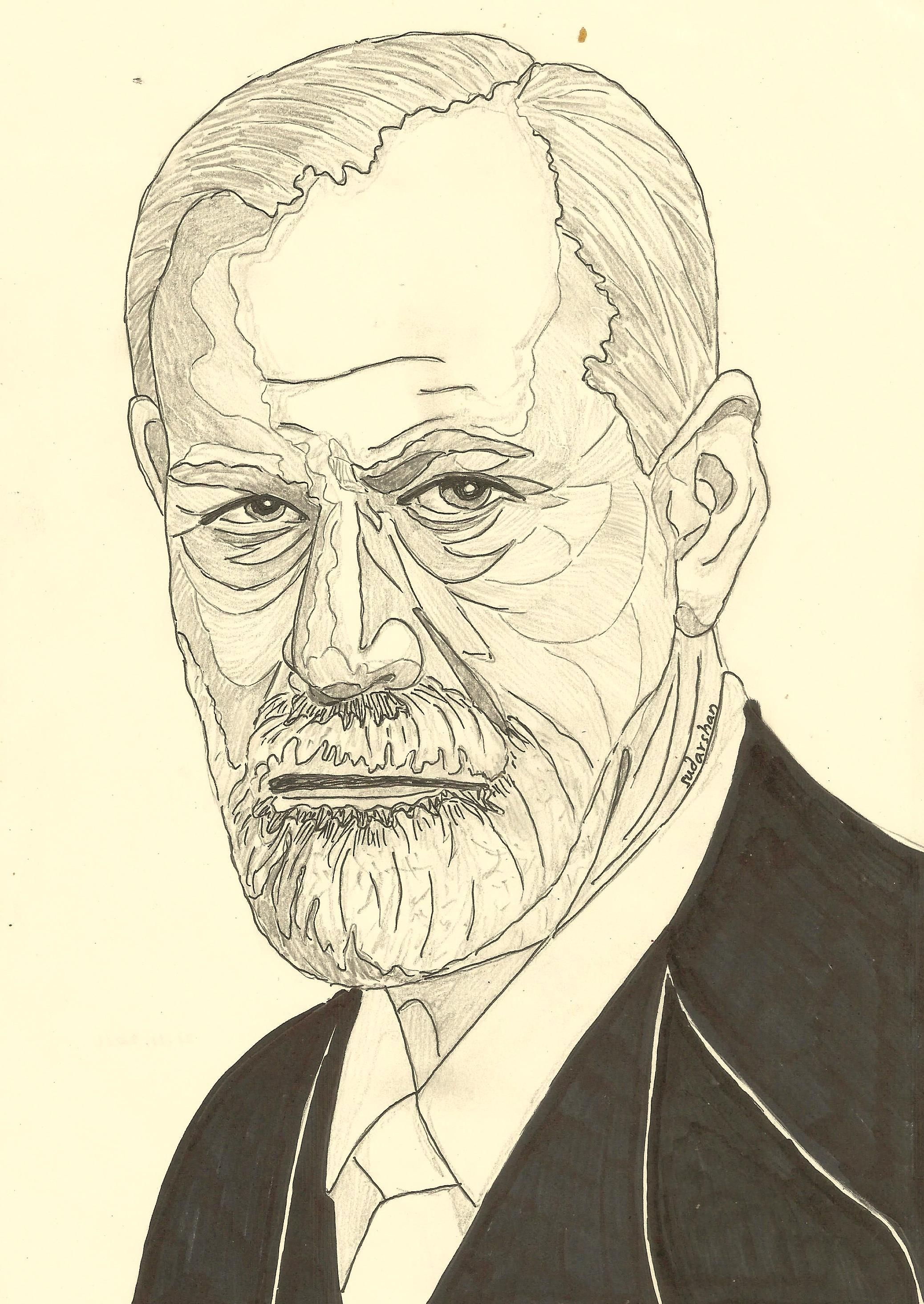 SIGMUND FREUD | Person sketch, Sketches, Caricature