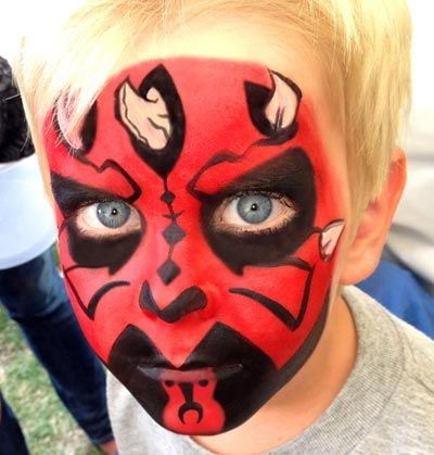 Darth maul face paint by cenema 39 s facepainting at www for Cara pintada diablo
