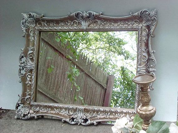 Vintage Ornate Mirror Distressed Antique Gold And White