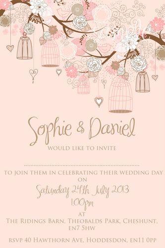 Personalised Birdcage Wedding Invitations 10 25 50 100 Ebay