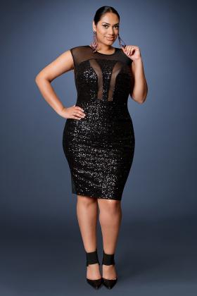 z black label holiday- mesh and sequins panel dress- black