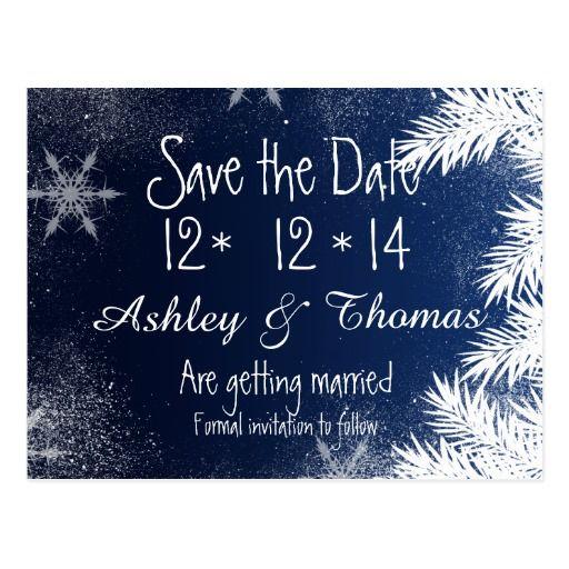 Save the Date Elegant Navy Blue Snowflake Winter ...Snowflake Ipo Date July
