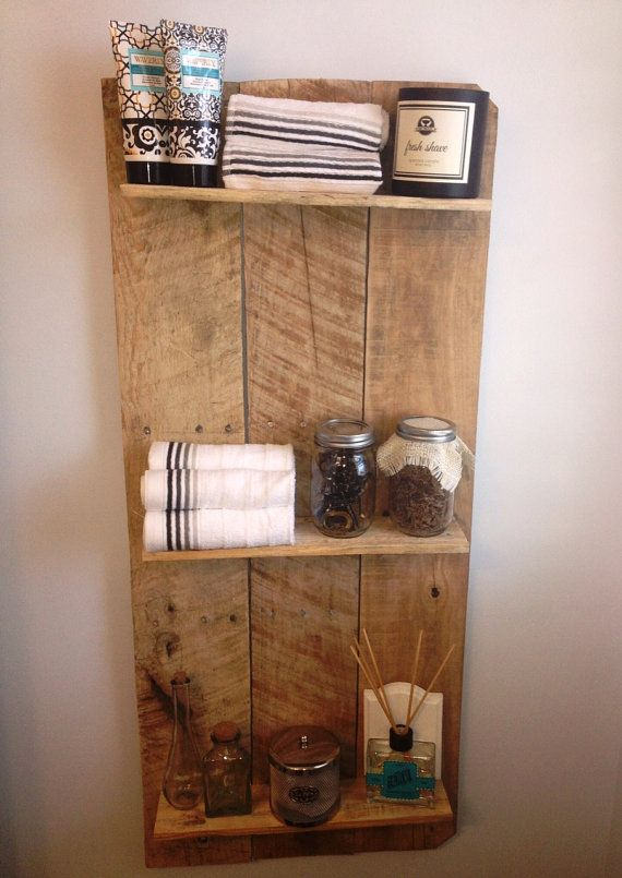Bathroom Shelving Rustic and Reclaimed Wooden Shelving Unit -- this would be so simple to make and it's cute!