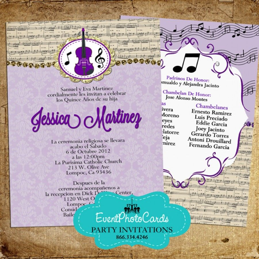 Music Band Quinceanera Invitations - Violin Purple | Band Music ...
