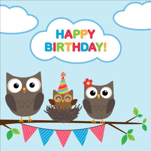 Happy birthday card and cute owls vector 01 httpsgooloc – Cute Happy Birthday Cards