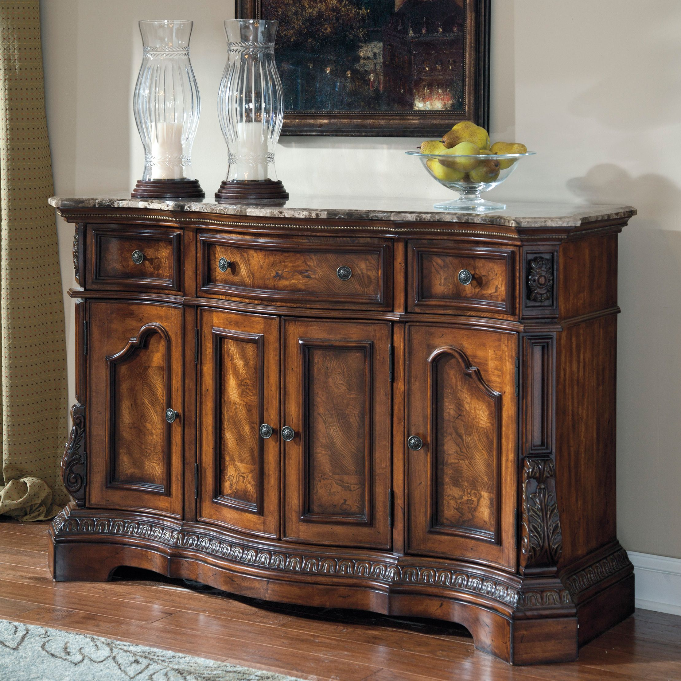 Valencia Buffet Sideboard Signature Design By Ashley Ledelle Dark Cherry Dining Room Server