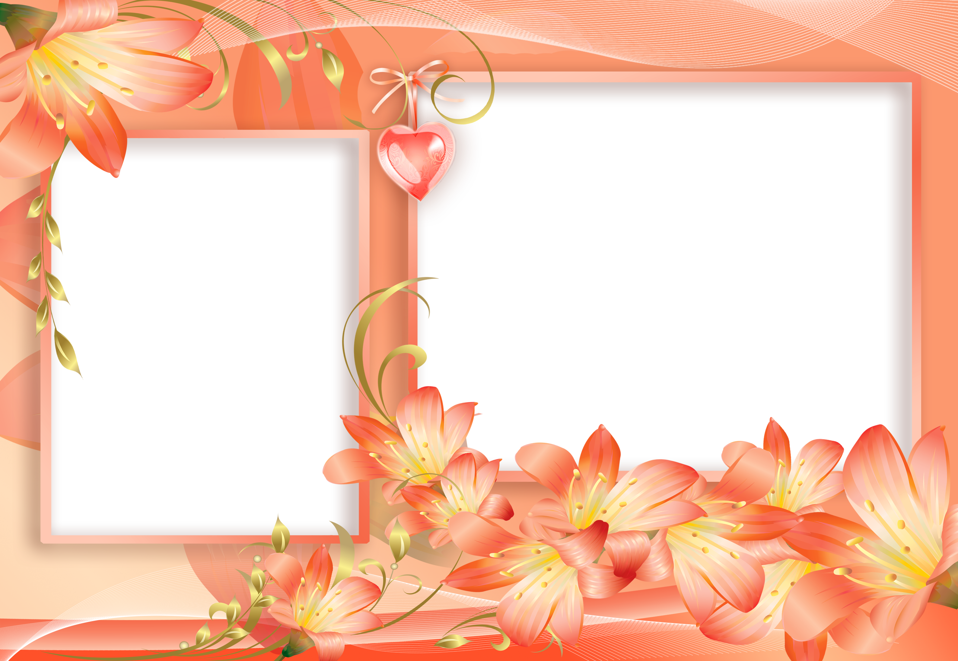 Orange and Yellow PNG Flowers Frame with Heart Etiquetas