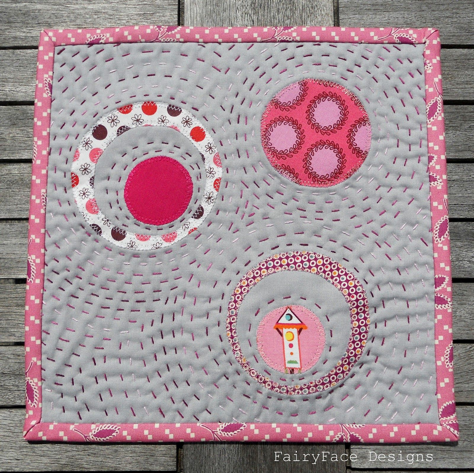 FairyFace Designs Circles Mug Rug Sew Patchwork