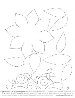 Printable Large Flower Leavestemplate Mel Stampz White Lotus Card Wet Wrinked Cardstock This 1 S 4 U Flower Template Flower Stencil Paper Flower Template