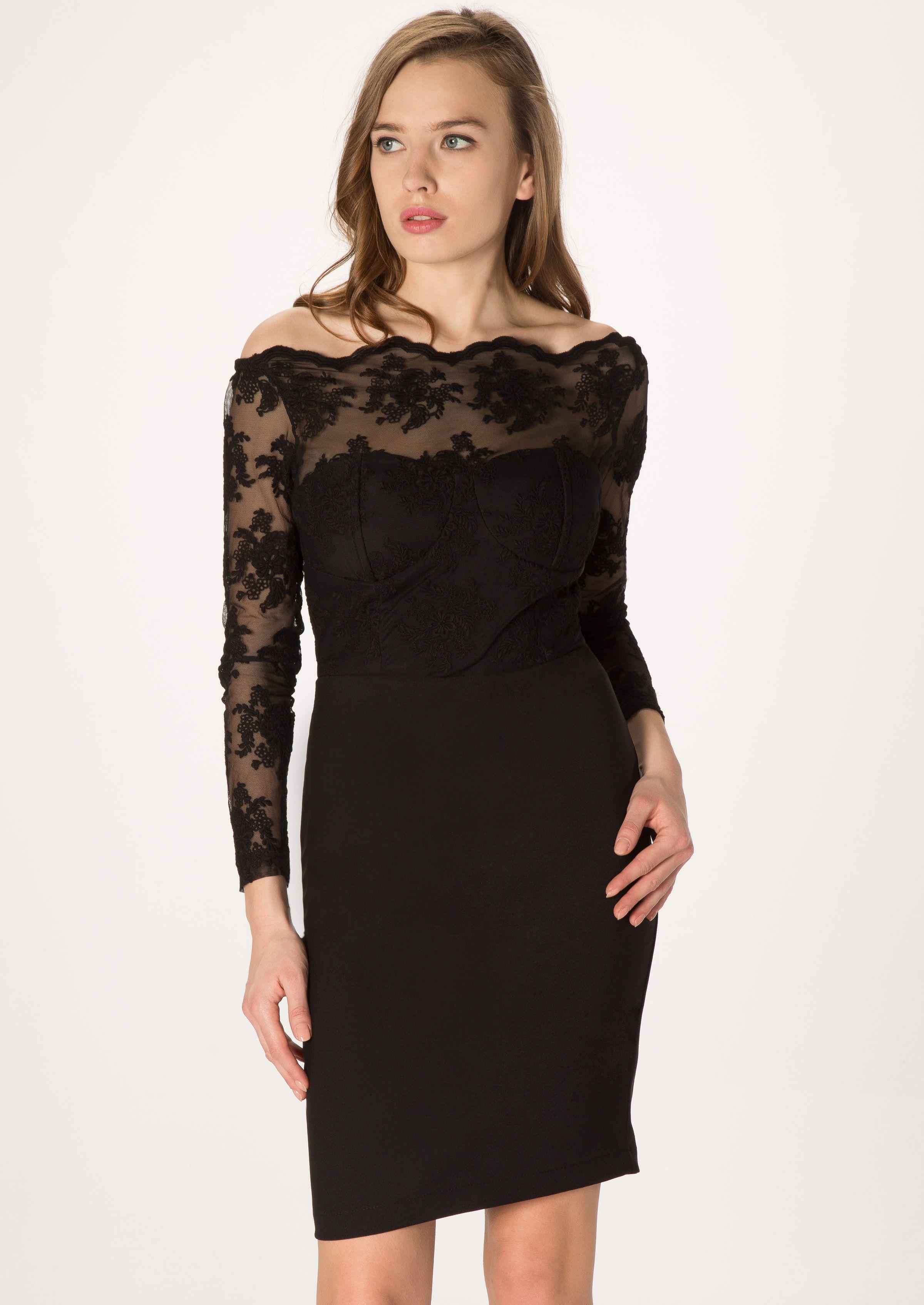 aa16802039de3 Siyah Tül Organze Uzun Kol Kısa Elbise #elbise #siyahelbise #abiye  #danteldetay #