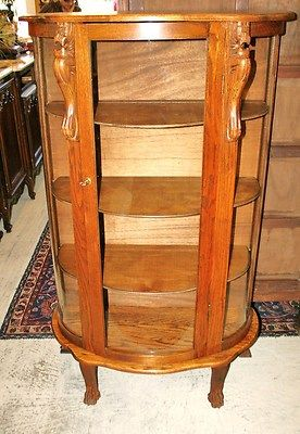 Beautiful English Antique Tiger Oak Bow Front Bookcase /China ...