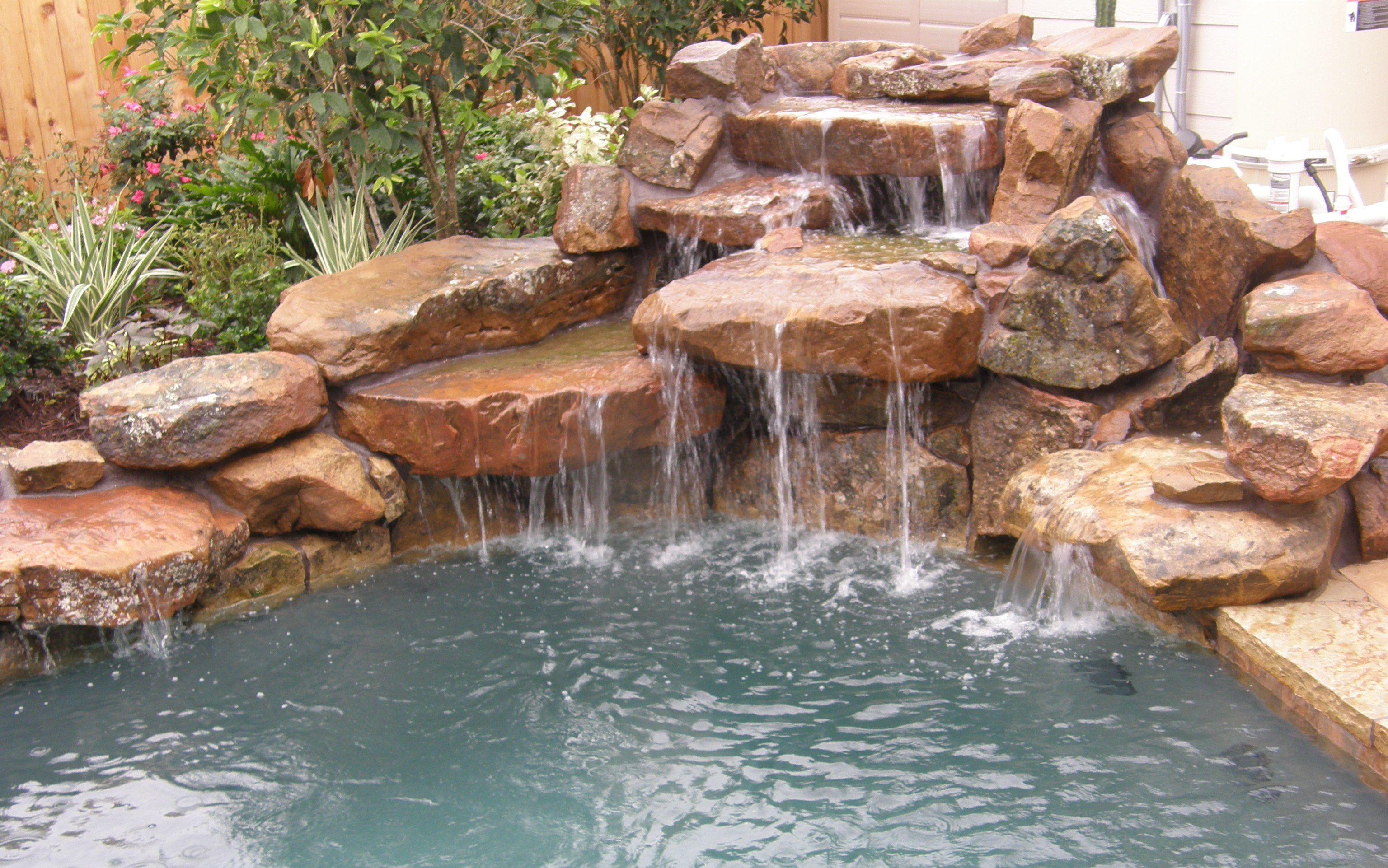 Rock waterfall feature | Waterfalls backyard, Pool water ... on Rock Garden Waterfall Ideas  id=90152
