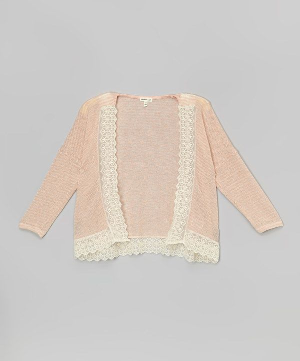 Look at this Monteau Girl Blush Lace-Trim Open Cardigan on #zulily today!