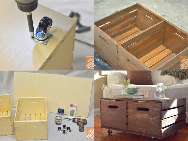 DIY Wooden Crates Storage Ottoman diy how to tutorial organization. Cajón de almacenamiento pallet Country Decor.