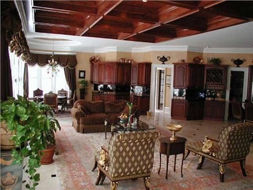 Inside the open floor layout of the luxury Colonial home is the