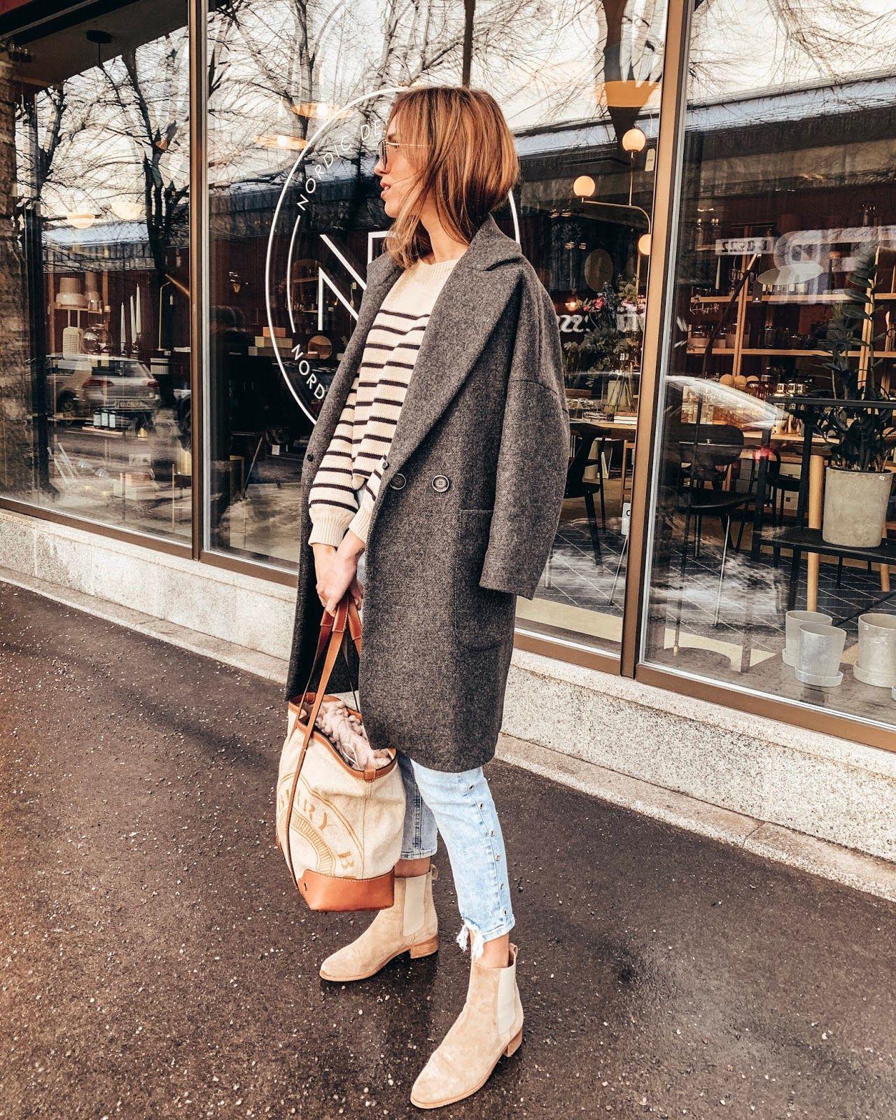 grey oversized coat striped jumper blue
