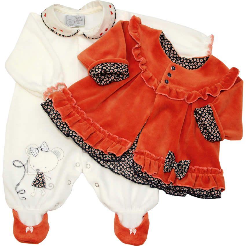 79bdbd84f Macacão Beth Bebê Recém Nascido e Bebê Menina em Plush Laranja - Beth Bebê  :: 764 Kids | Roupa bebê e infantil