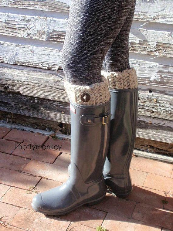 Ladies Wellington Boots Cuff Animal Crochet Sock Winter Boot Topper Warm Gift