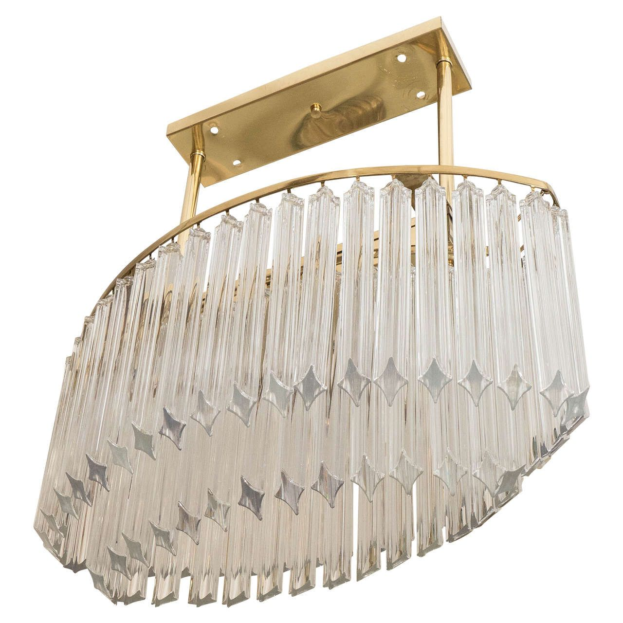 Oval Gold Frame, Clear Glass Rod Chandelier
