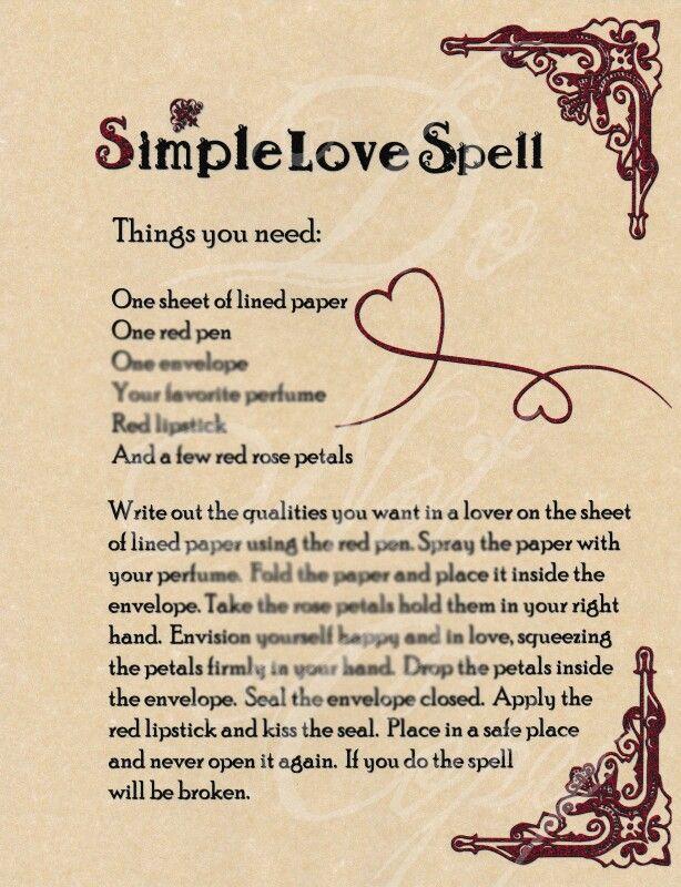 Simple Love Spell Wicca Love Spell Easy Love Spells Love Spell Chant