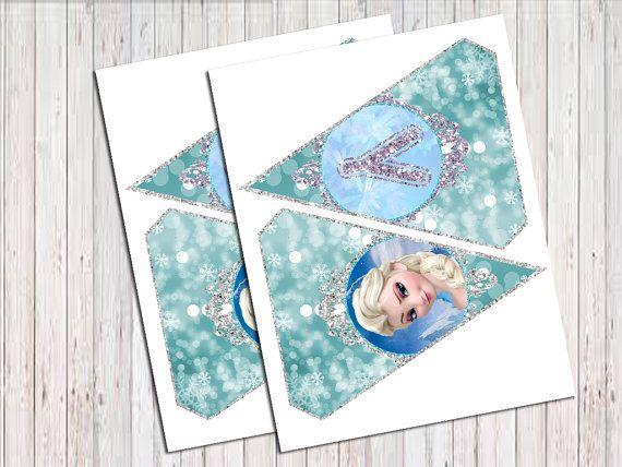 Frozen Birthday Banner Printable Frozen por RainbowSweetStudio