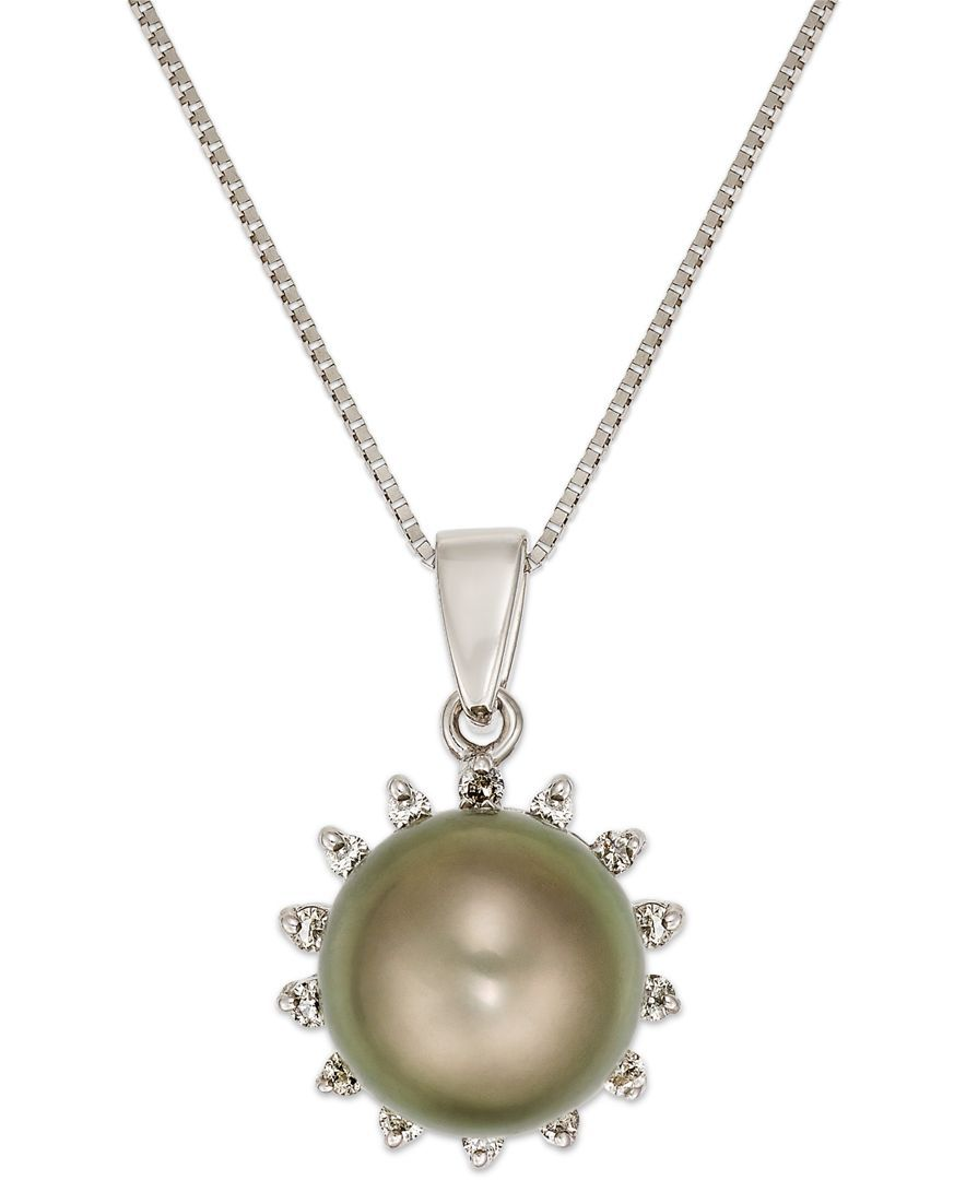 Tahitian Pearl (8mm) and Diamond (1/10 ct. t.w.) Pendant Necklace in 14k White Gold